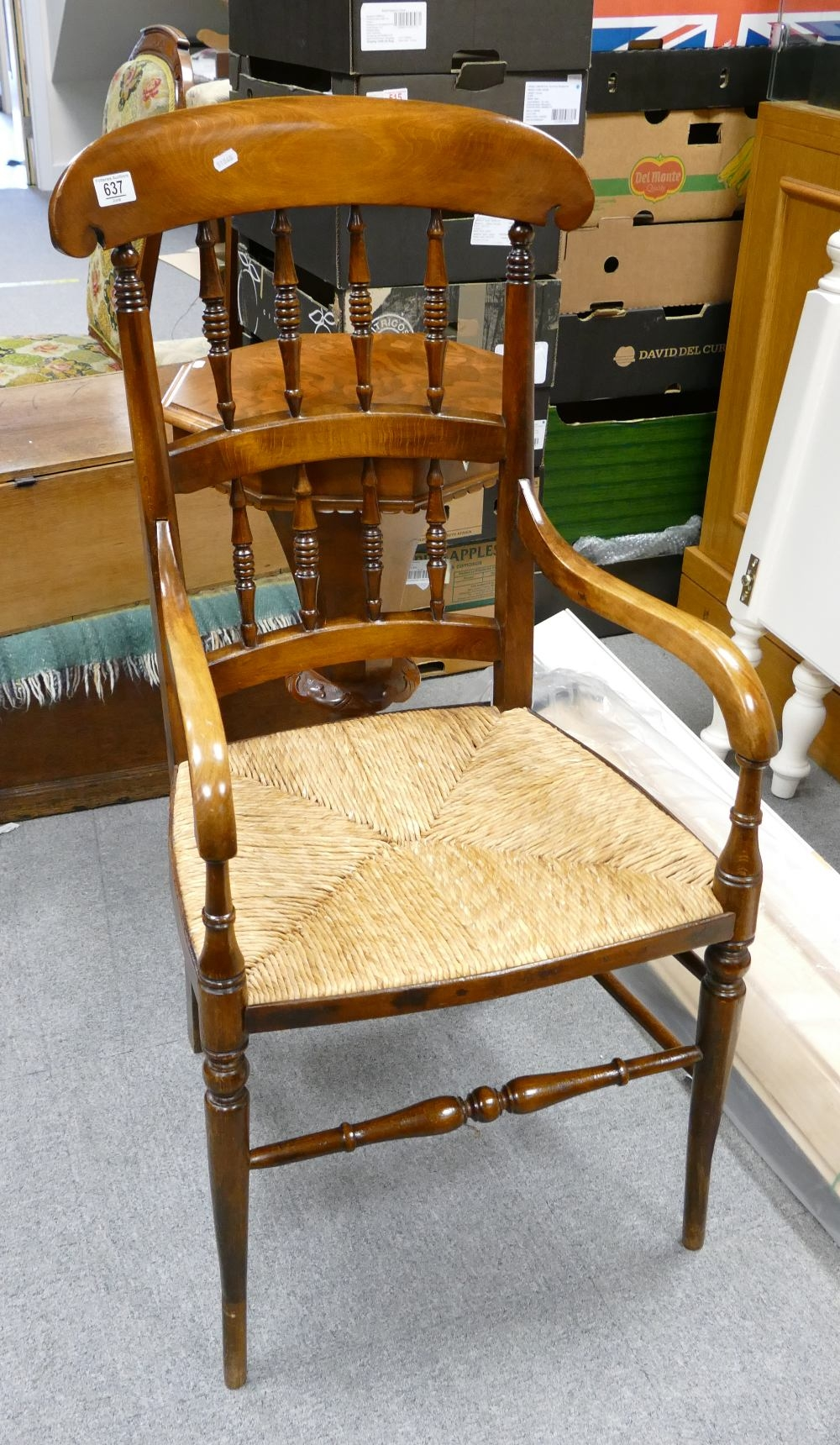 Larger size 19th century spindle back rush seated chair: