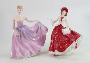 Royal Doutlon Lady Figures: Rachel HN3976 & Christmas Day 1999 HN4214, both boxed with