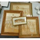Four Inlaid Wood Marquetry Pictures: with village scenes (4)