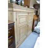 Large Victorian pine housekeepers cupboard: Large 2 door stripped pine piece measuring 140 cm wide x
