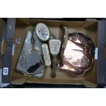 A mixed collection of item to include: Beldray Copper Crumb Tray & Brush, base metal dressing