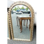 Gilt Effect Oval Topped Wall mirror: height 87cm