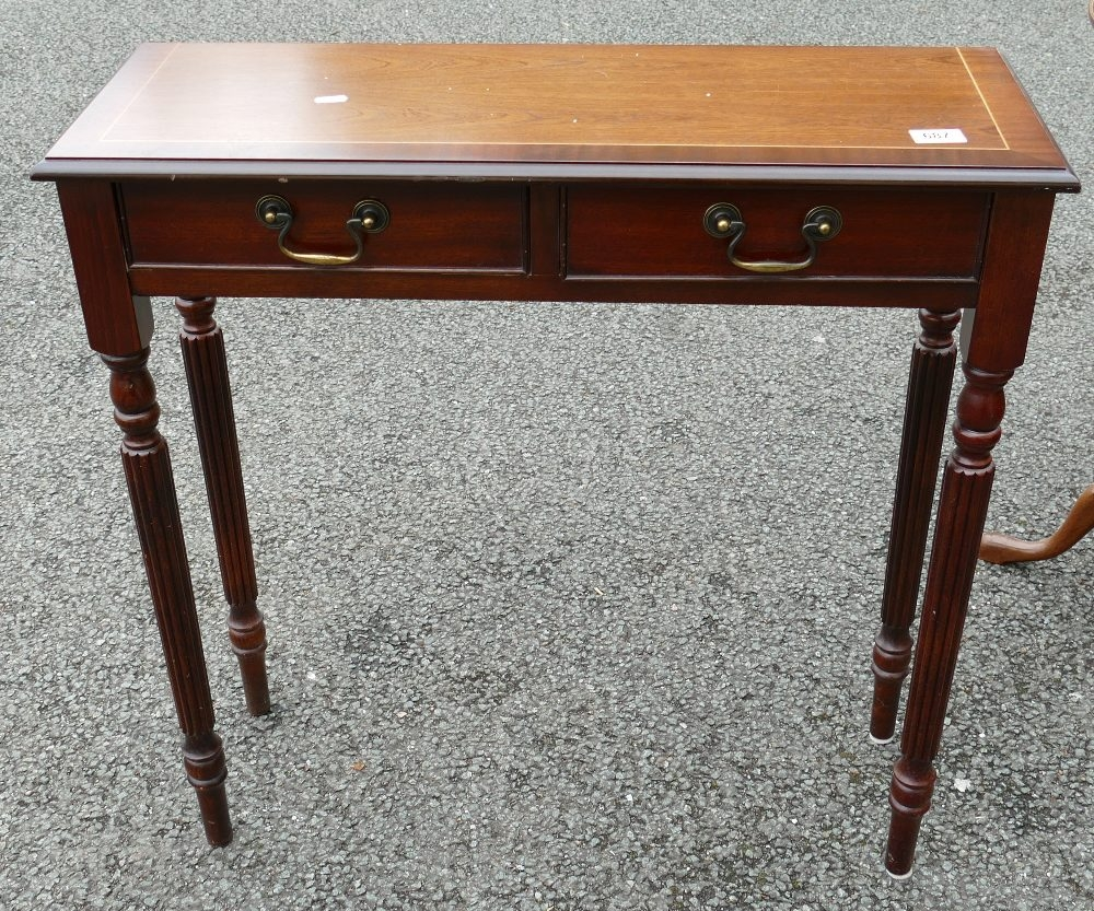 Reproduction Inlaid Mahogany Side Table: