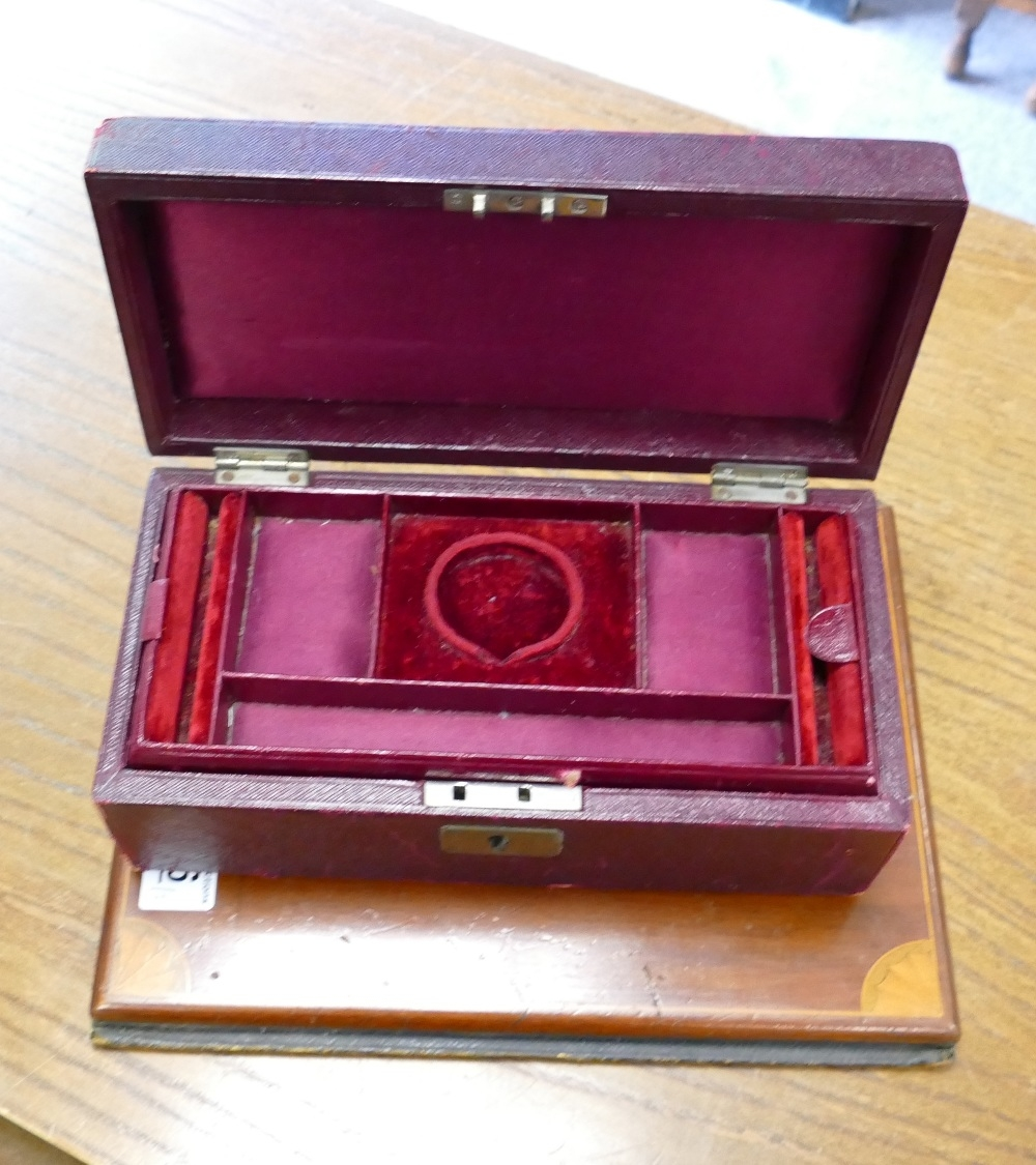 Moroccan Red Leather Jewelry Box: together with Edwardian Inlaid Mahogany & Leather bound folder(2) - Image 2 of 2