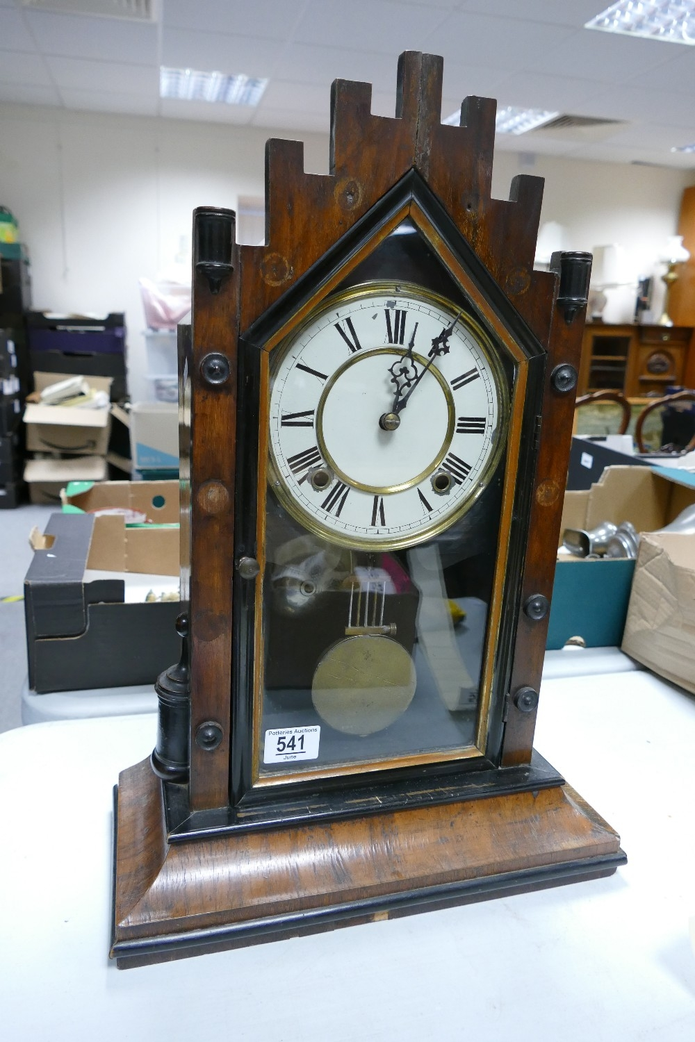 Early 20th Century Wooden Cased Mantle Clock: height 54cm
