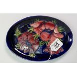 Moorcroft anemone pattern oval dish: 23mm wide. Impressed mark and signature.