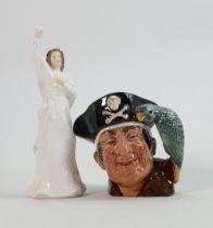 Royal Doulton Small Character Jug Long John Silver : together with small Royal Doulton Lady Figure