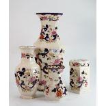 Very Large Masons Mandalay vase and 3 others: Vases measure 42.5 cm, 26cm & 16cm, large vase has 2