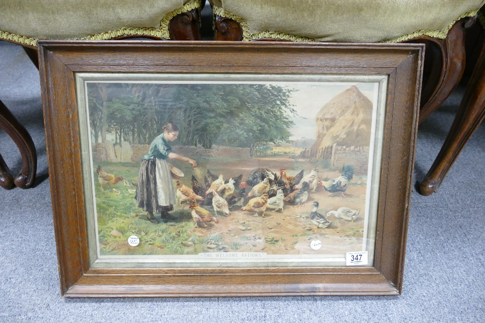 Oak Framed early 20th Century Pears Print 'The Welcome Ration': 42 x 59cm