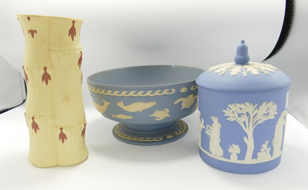 Wedgwood Seconds items to include: Bamboo Vase, Biscuit Barrel & damaged Marine Bowl, height of