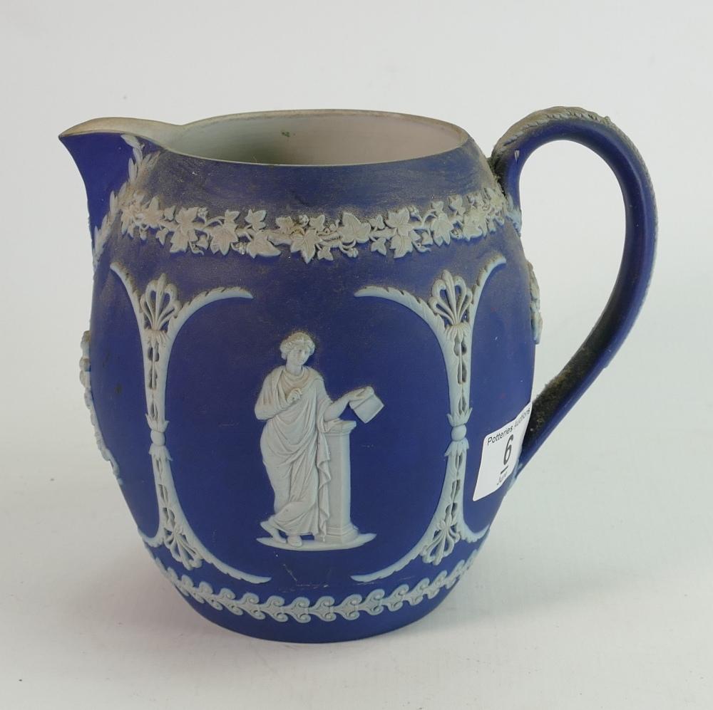 Wedgwood Dip Blue Jasperware large water jug, height 18cm