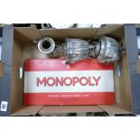 A mixed collection of items to include: Silver Plated Tea ware & boxed Monopoly board game