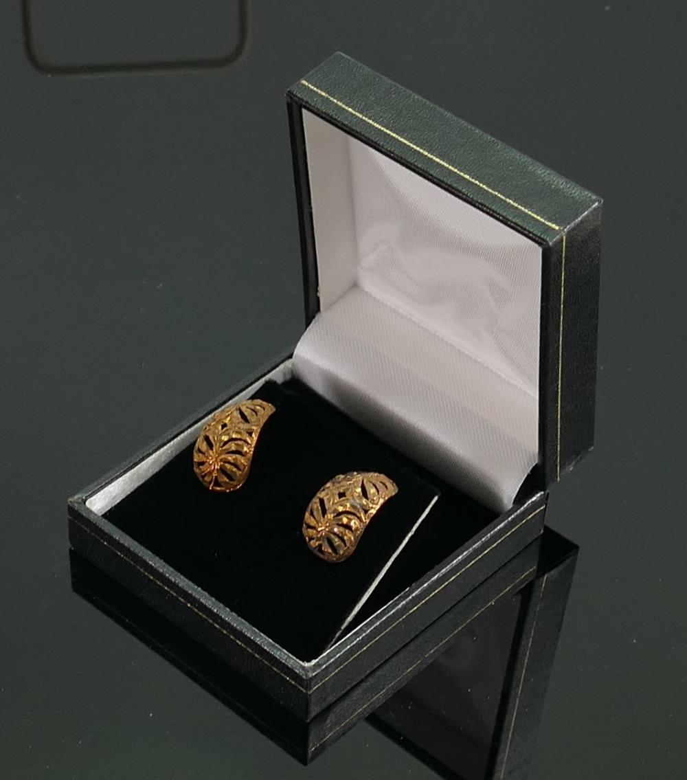 9ct rose gold pair diamond cut half hoop earrings: brand new & boxed QVC, 3.2g.