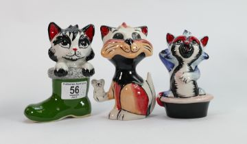 Three Lorna Bailey cats: In boots, in bath and with a mouse, tallest 13.75 cm (3)