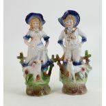 19th century German Shepherd and Shepherdess figures: Pair measuring 25cm high approx. (2)