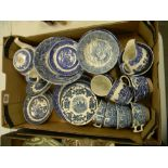 A collection of Blue White Ironstone ware including: Enoch Wedgwood plates, Meakins Teapot etc