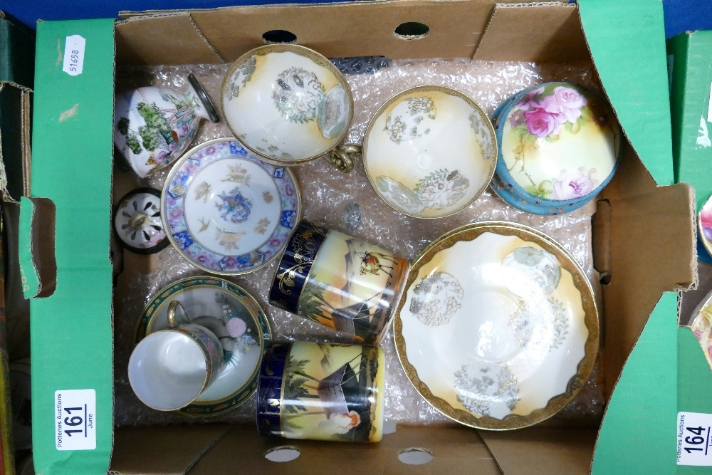 Noritake STYLE porcelain x 1 pieces: one piece appears repaired (vase with pierced lid), all