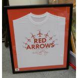 Signed Red Arrow Commemorative Framed T Shirt: frame size 66 x 57cm