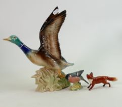 Beswick Bullfinch 1042 & small fox: together with Dutch large pottery model of mallard in fight(3)