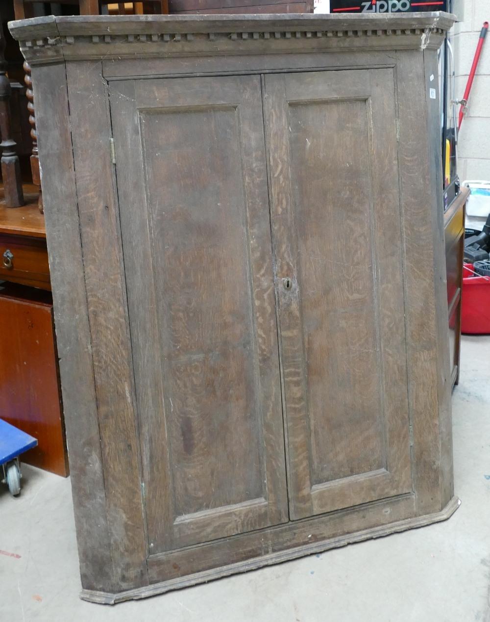 Large Georgian Oak Double Farmhouse Corner Cupboard: