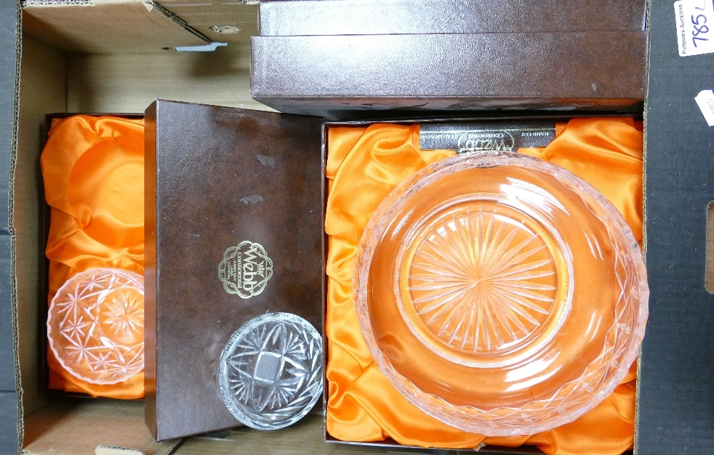 A collection of boxed Webb continental crystal bowls: