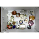A collection of enameled and soft stone trinklet boxes: to include Royal Worcester, Halcyon days,