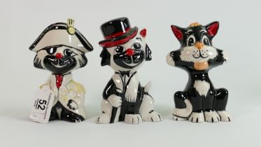 Three Lorna Bailey cats: Pirate, cat with cane & sitting cat, tallest 13.5 cm. (3)