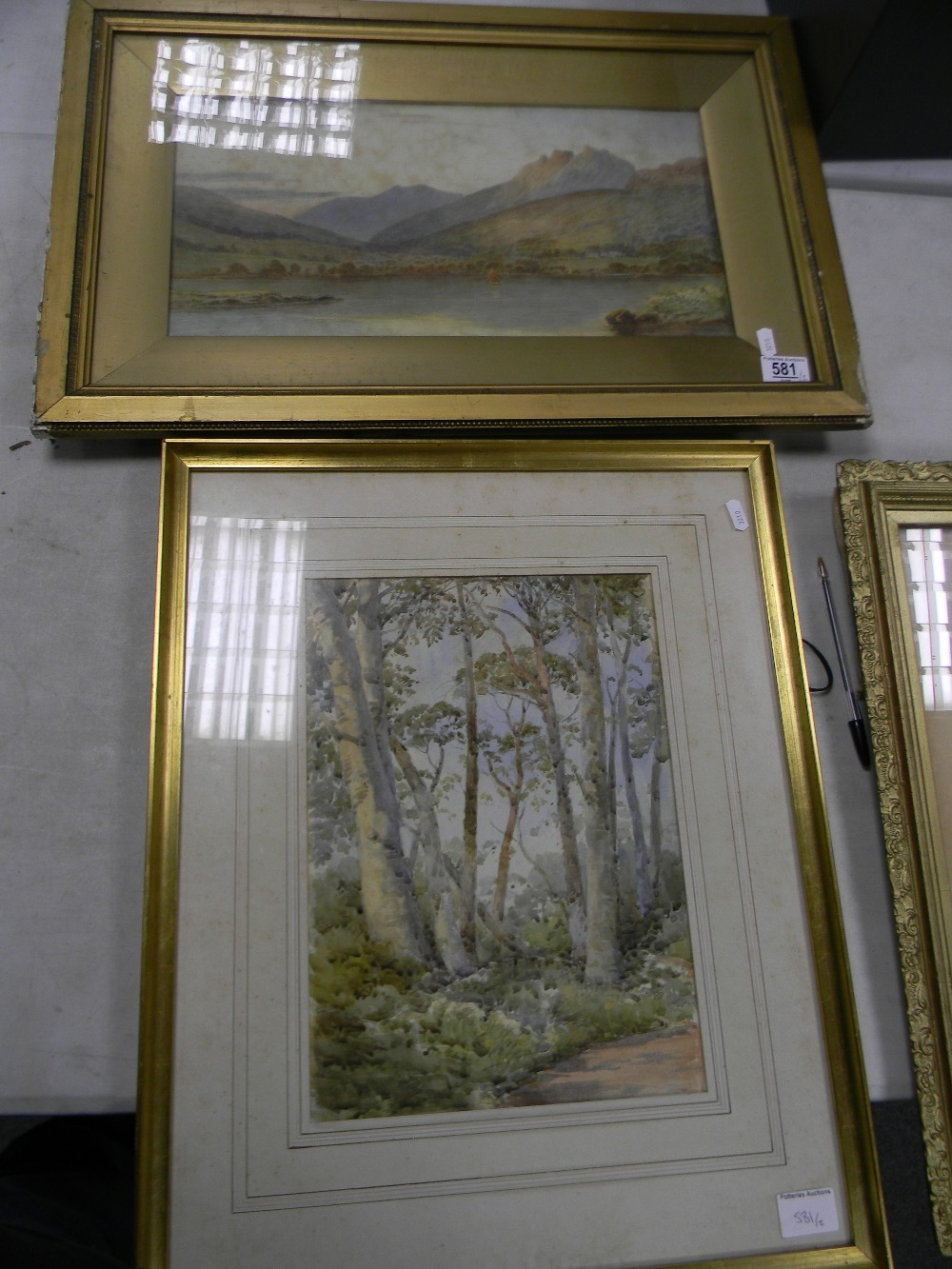 Early 20th Century Watercolour : signed V Allan: together with later image of Silver Birches,