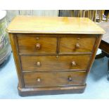 Victorian mahogany veneer chest of drawers: Two small over 2 long drawers, measuring 93 cm x 43 cm x