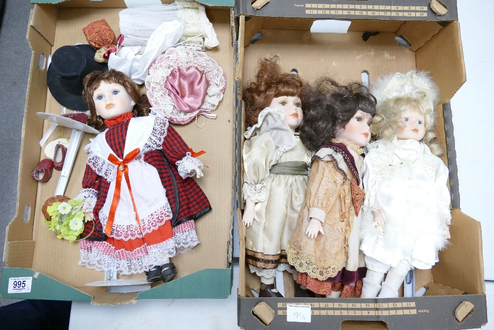 A collection of Porcelain Leonard Collection Display dolls( 2 trays)