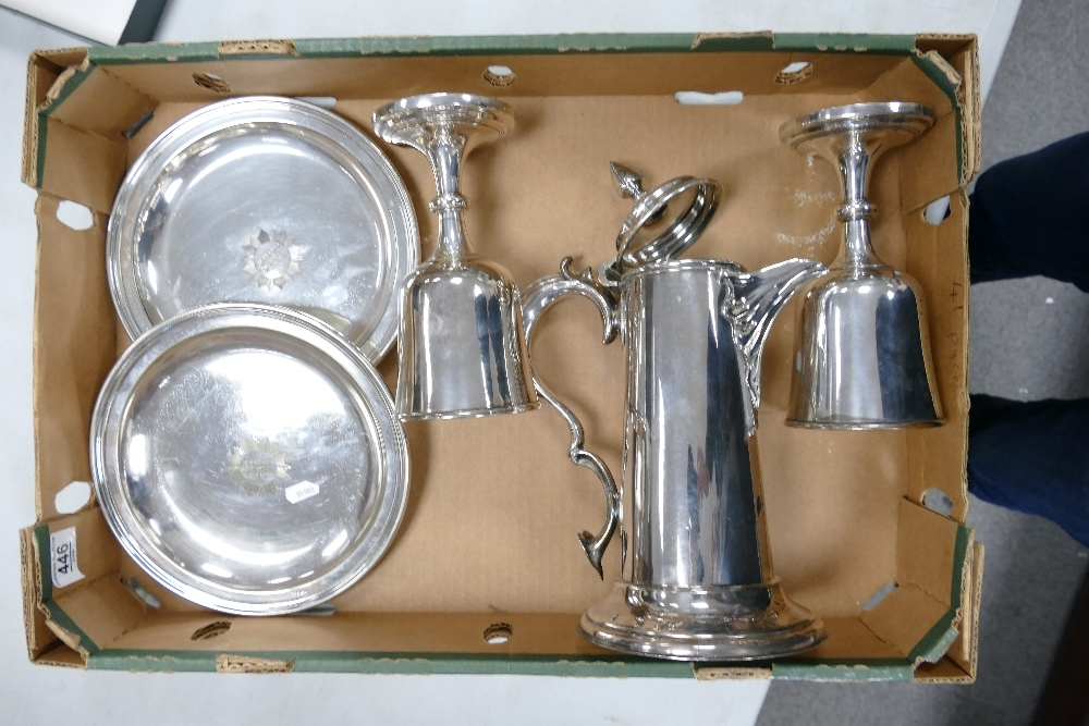 Collection of Ecclesiastical church silver plated items from a closed Welsh chapel: Includes large