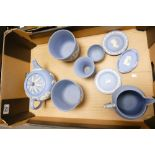 A collection of Wedgwood Jasperware items to include: teapot, small planters, water jug, dishes etc