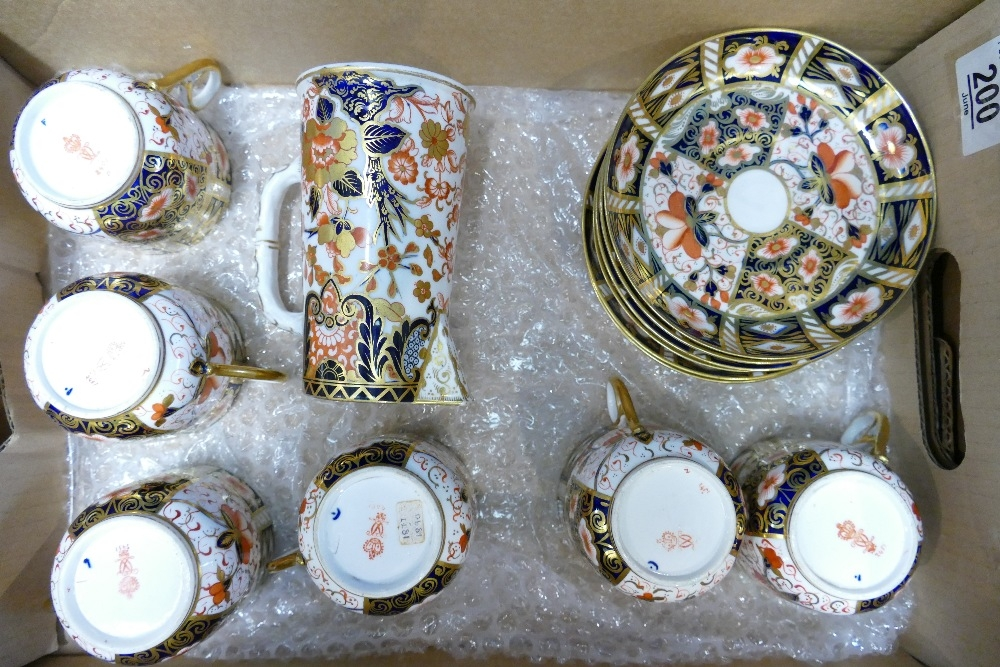 Earlier Derby cups and saucers x 6 plus jug: All appear in good used condition.
