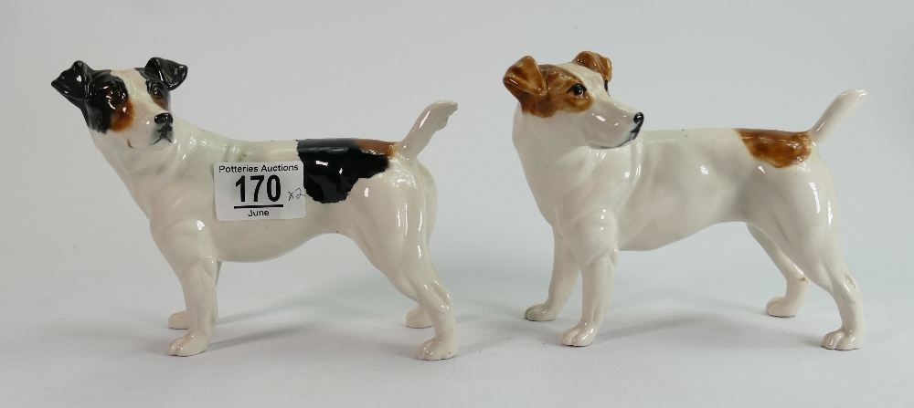 Elite pottery good quality trial Jack Russell hand painted porcelain dog figures: Both marked trial,