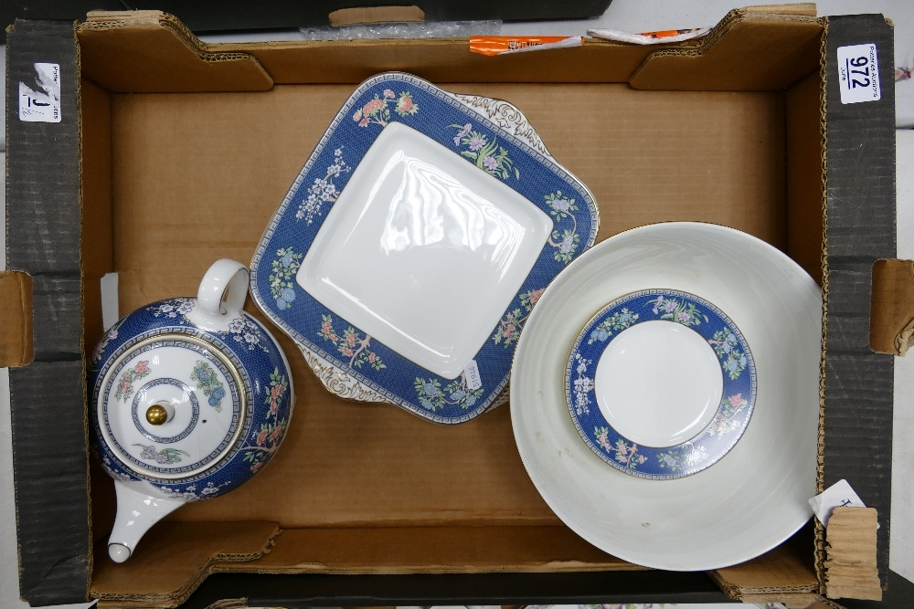 A collection of Wedgwood Blue Siam Patterned items to include: Teapot, Sandwich Plate, Large fruit