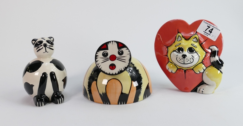 Three x Lorna Bailey cats: One measuring 13cm x 13cm x 10cm high, another fat little cat, and one