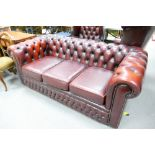 Oxblood Red Leather 3 Seater Chesterfield Settee: