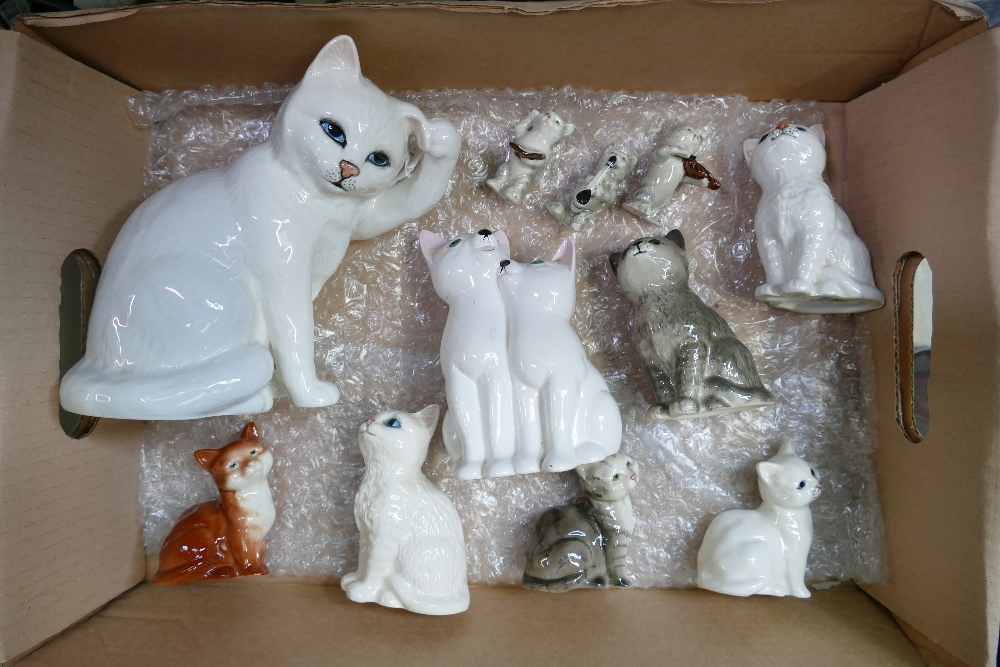 11 x Beswick CATS: Includes large 1177 scratching ear in white, cats chorus, various other cats &