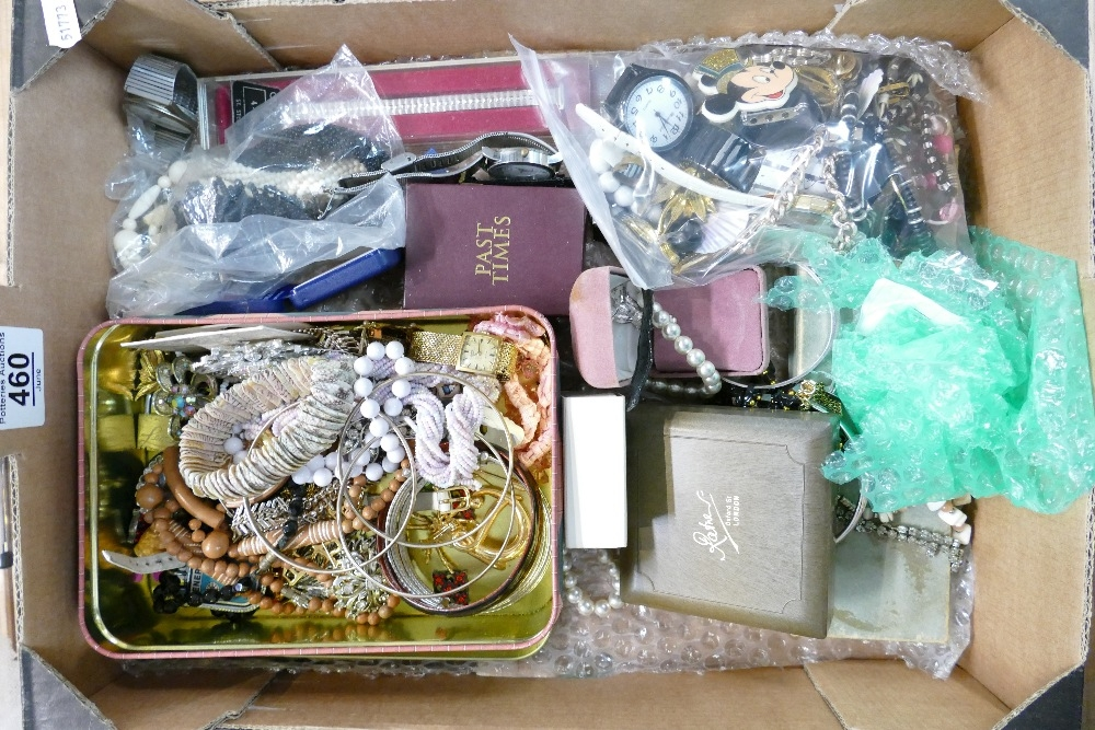 Tray lot of assorted jewellery and watches: Includes beads, watches, earrings, necklaces, bangles,