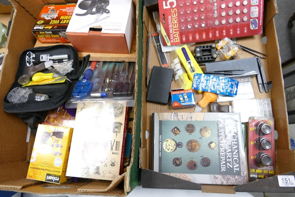 A large collection of Watch Makers equipment to include: books, vices, case closer, pins, hand tools