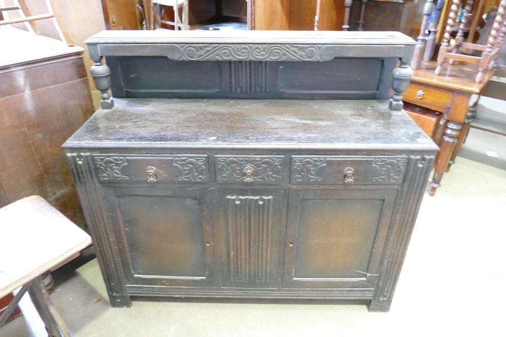 Carved Oak 1930's Buffet Side Board: