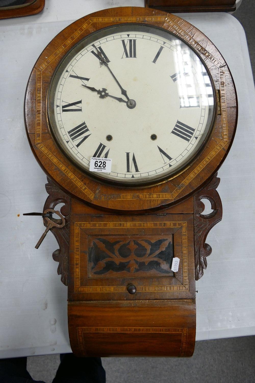 Inlaid Edwardian Drop Dial Wall Clock: length 70cm