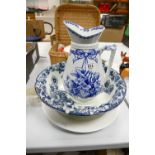 Large Early Blue & White Wsahbasin & Jug: together with undecorated large platter(3)