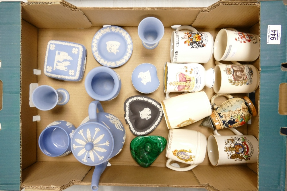 A mixed collection of items to include: Wedgwood Jasperware teapot, vases, lidded boxes etc