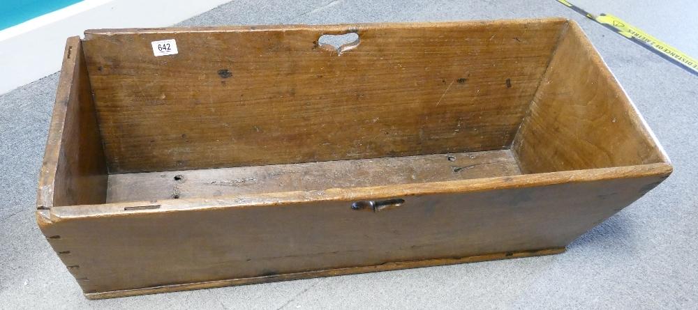 19th century dough bin in fruitwood or similar: Measuring 88 cm x 40 cm x 28 cm high appx.