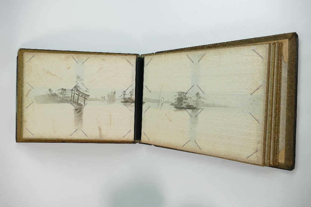Large oriental lacquer and bone photo or postcard album: dating to the early 20th century. Overall - Image 5 of 6