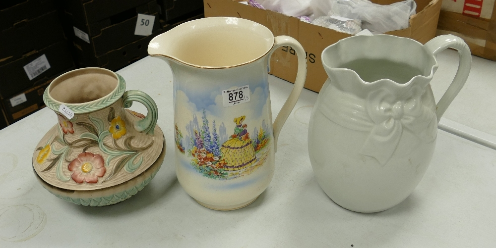 Three Large Decorative Water Jugs: height of tallest 27cm(3)