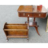 Modern Inlaid Telephone Table: together with similar magazine rack(2)