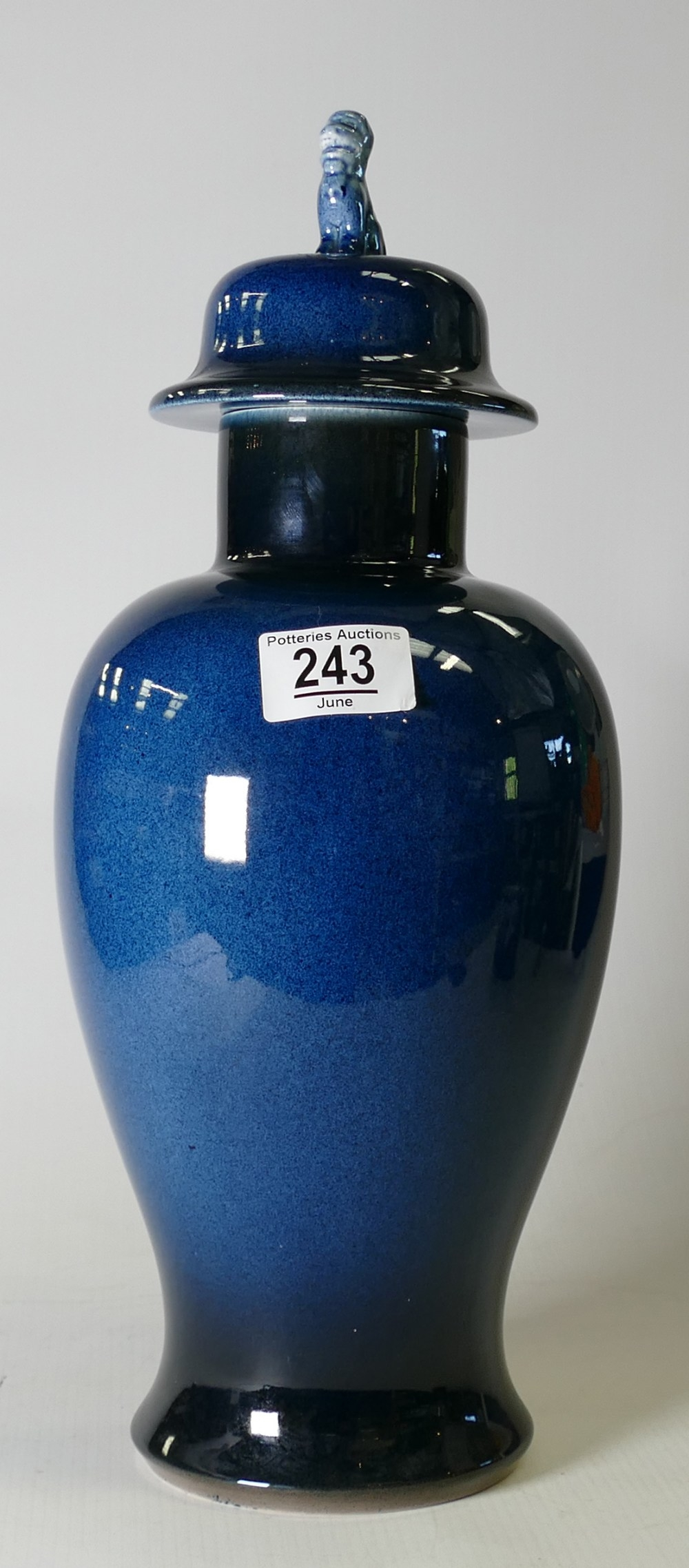 Deep Blue Glazed Chinese Style Temple Jar: height 38cm