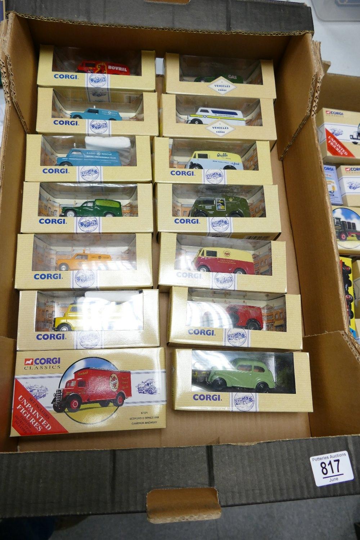 A collection of Advertising Theme Corgi Classics Cars & Trucks including: Radio Rescue, Walls, Royal
